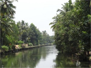 Inde Backwaters paysage houseboat