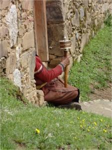 Chine Sichuan Litang moulin à prière