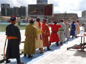 Mongolie Oulan-Bator Naadam ligne d'archers